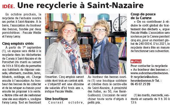 • Ouest France - article et vidéo 08/2016 : Recyclage d'objets à la déchetterie de Pornichet