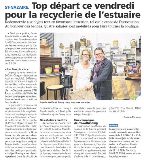 article presse au bonheur des bennes recyclerie