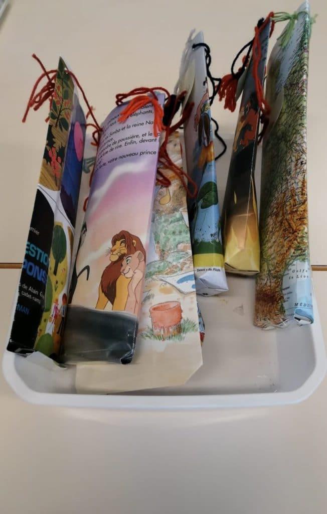 Atelier sac en papier livres enfant réemploi recyclerie au bonheur des bennes 44 saint-Nazaire
