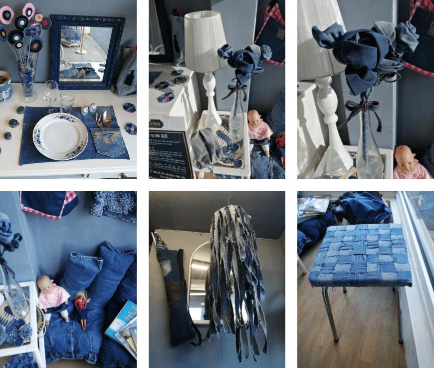 Montage créations jean reemploi recyclerie au bonheur des bennes 44 ST nazaire