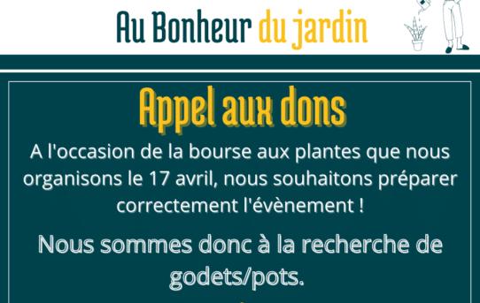 Au Bonheur du Jardin - Appel aux dons