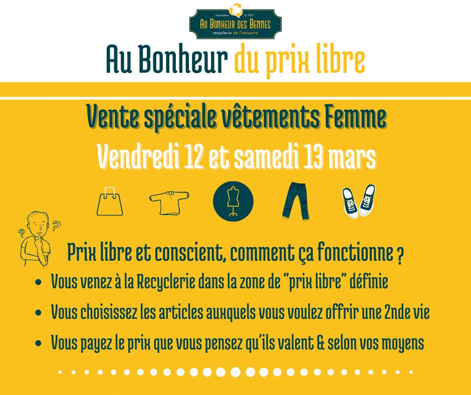 Prix libre femme textile mars vente spéciale recyclerie au bonheur des bennes saint nazaire 44