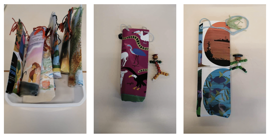 Atelier sac en papier bonhomme en perle enfant réemploi recyclerie au bonheur des bennes 44 saint-Nazaire