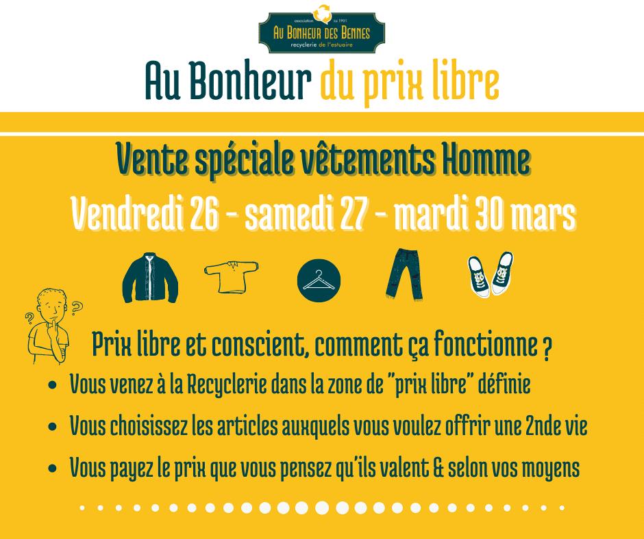 Prix libre homme textile mars vente spéciale recyclerie au bonheur des bennes saint nazaire 44