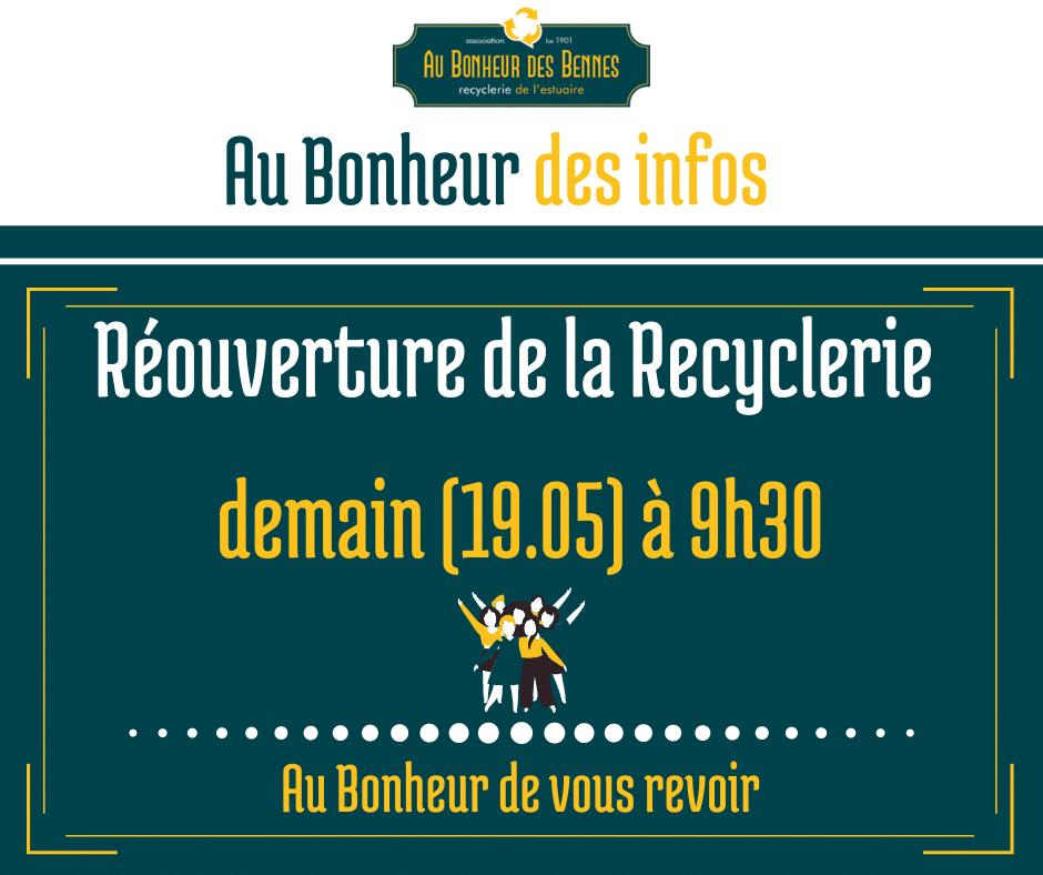 Réouverture recyclerie mercredi reemploi recyclerie au bonheur des bennes 44 saint nazaire